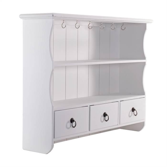 shabby chic k chen wandregal frieda wei 3 schubladen landhaus stil ebay. Black Bedroom Furniture Sets. Home Design Ideas