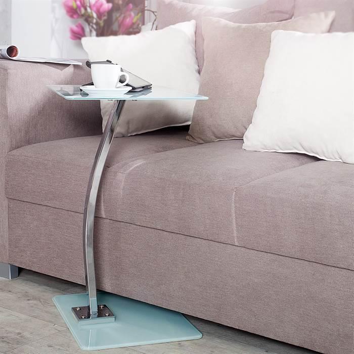 Beistelltisch james wei glas 58 cm laptop for Beistelltisch unter couch schieben