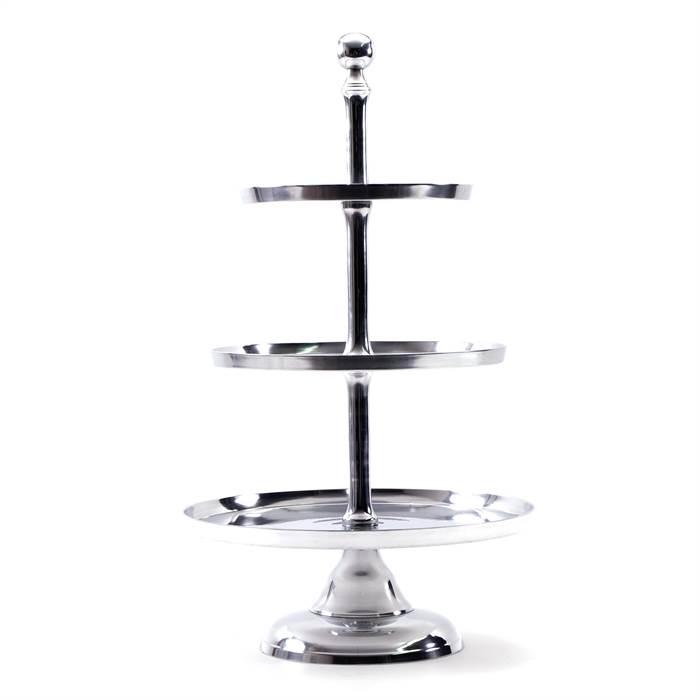 grosse etagere grande 3 ebenen alu silber 73 cm kuchenst nder ebay. Black Bedroom Furniture Sets. Home Design Ideas