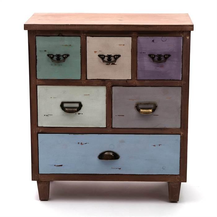 vintage kommode emma mit 6 schubladen 68 cm braun pastell w scheschrank ebay. Black Bedroom Furniture Sets. Home Design Ideas