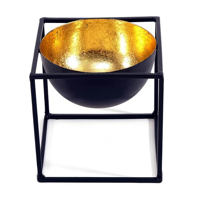 teelichthalter vulcano frame small kare design 39805 schwarz gold 15 cm ebay. Black Bedroom Furniture Sets. Home Design Ideas