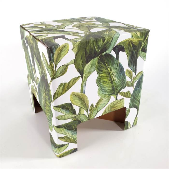 papphocker green leaves 34x30x30 cm gr ne bl tter hocker beistelltisch ebay. Black Bedroom Furniture Sets. Home Design Ideas