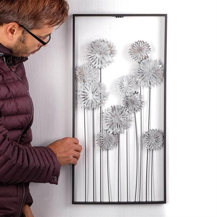 wanddeko pure flowers metall 62 cm silber braun wanddekoration blumen ebay. Black Bedroom Furniture Sets. Home Design Ideas