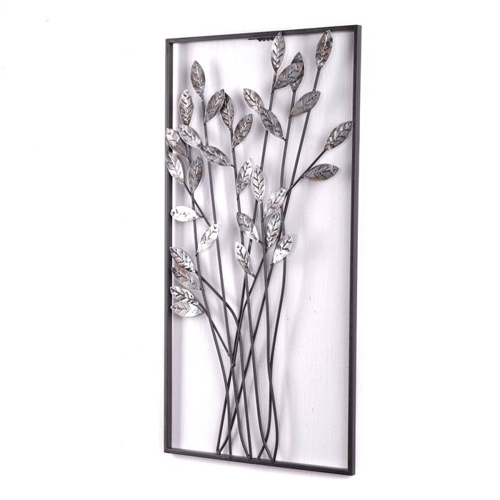 wanddeko zweige metall 62 cm silber braun wanddekoration mit blumen ebay. Black Bedroom Furniture Sets. Home Design Ideas