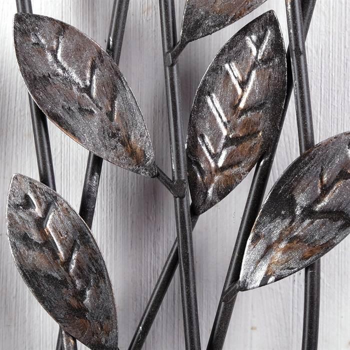 wanddeko zweige metall 62 cm silber braun wanddekoration mit blumen ebay. Black Bedroom Furniture Sets. Home Design Ideas