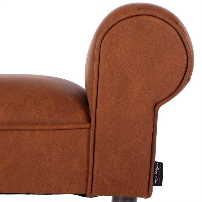 design polsterbank vintage cognac 100x50x30 cm. Black Bedroom Furniture Sets. Home Design Ideas
