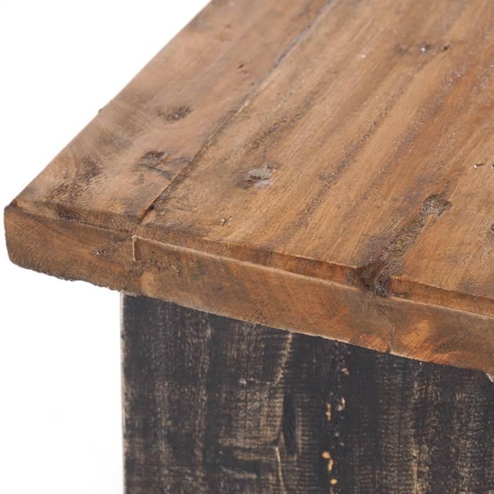 Holzhocker DESIGN DELIGHTS FUSSHOCKER SCHEMEL Recyclingholz Natur schwarz 18,5x29x19,5 cm