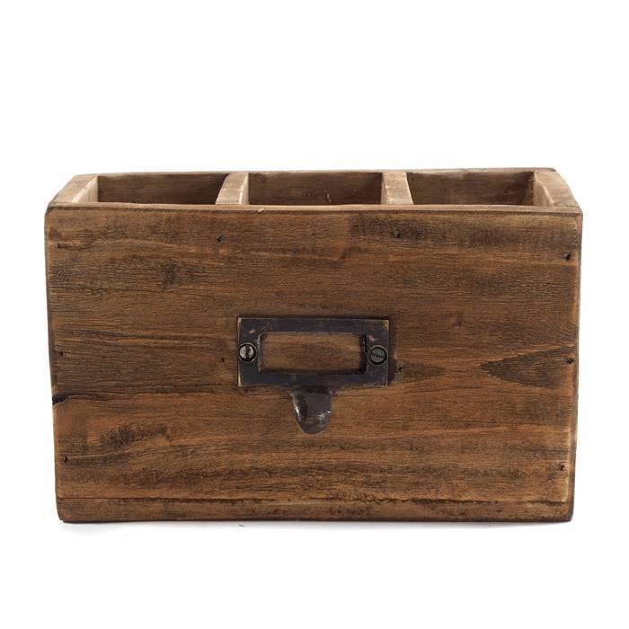"VINTAGE STIFTEHALTER /""BOX 18/""Recyclingholz Stiftebox HxBxT 12x19x10cm"